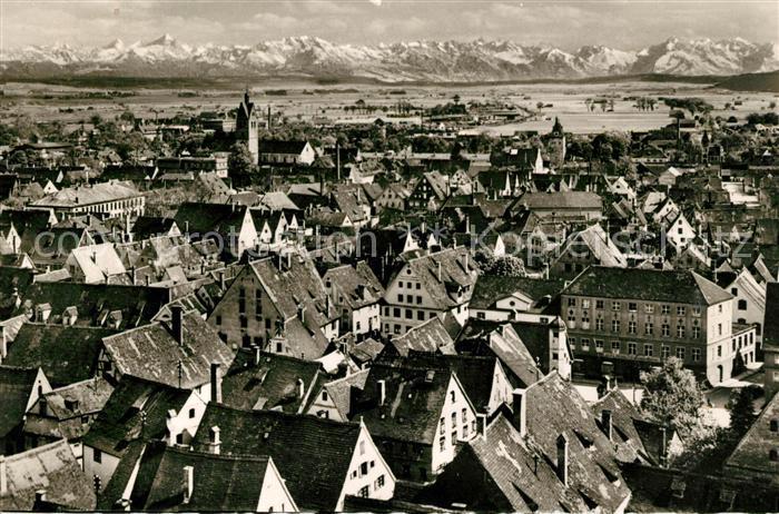 AK / Ansichtskarte Memmingen Stadtpanorama mit Blick auf die Alpen Kat. Memmingen