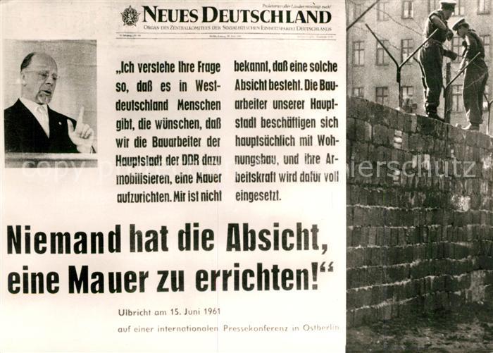 Bau Der Berliner Mauer Karte.Ak Ansichtskarte Berliner Mauer Berlin Wall Politik Ulbricht Pressekonferenz 1961 Kat Berlin