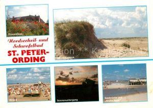 AK / Ansichtskarte St Peter Ording Friesenhaus Duenen Strand Sonnenuntergang Seebruecke und Arche Noah Kat. Sankt Peter Ording