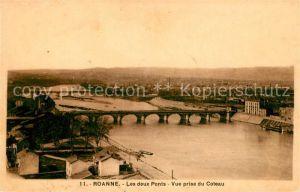 AK / Ansichtskarte Roanne Loire Les deux ponts vue prise du Coteau Kat. Roanne