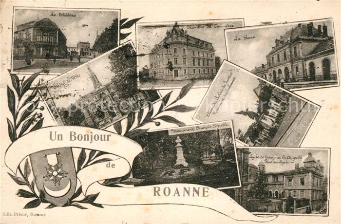 AK / Ansichtskarte Roanne Loire Theatre Chambre de Commerce Gare Place du Palais de Justice Monument Hostel Lycee Chapelle Kat. Roanne