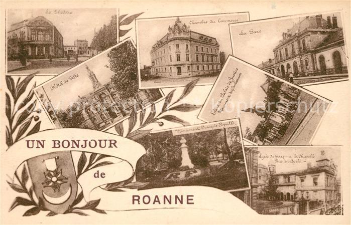 AK / Ansichtskarte Roanne Loire Theatre Hotel de Ville Chambre de Commerce Place du Palais de Justice La Gare Lycee Kat. Roanne