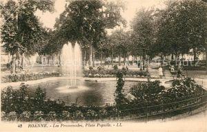 AK / Ansichtskarte Roanne Loire Les Promenades Place Populle Fontaine Kat. Roanne