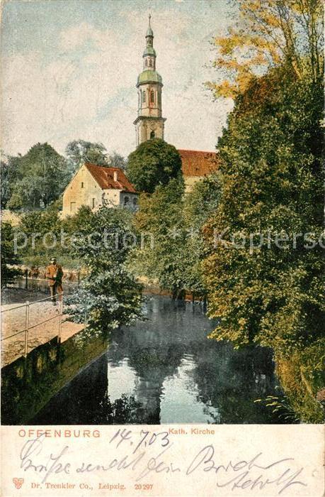 AK / Ansichtskarte Offenburg Katholische Kirche Partie am