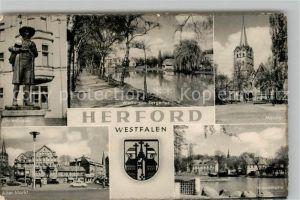 AK / Ansichtskarte Herford Linnenbauer Werre am Bergertor Muenster Alter Markt Werrepartie Kat. Herford