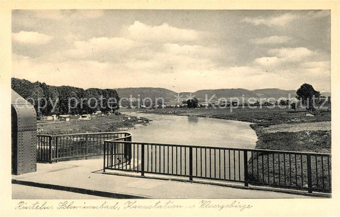 AK / Ansichtskarte Rinteln Schwimmbad Kanustation Wesergebirge Kat. Rinteln