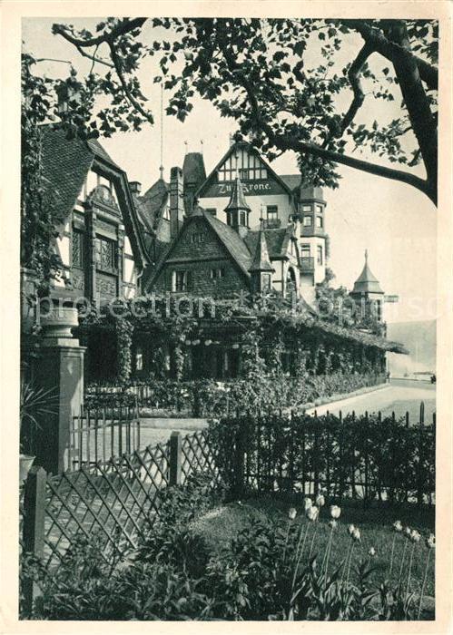 AK / Ansichtskarte Assmannshausen Rhein Krone Historischer Gasthof Kat. Ruedesheim am Rhein