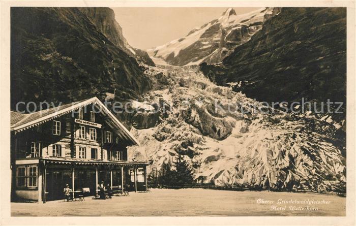 AK / Ansichtskarte Grindelwald Oberer Grindelwaldgletscher Hotel Wetterhorn Berner Alpen Kat. Grindelwald