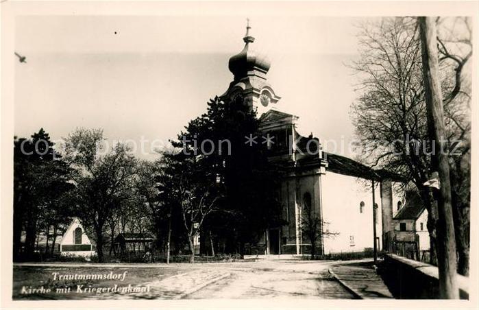 AK / Ansichtskarte Trautmannsdorf Kirche mit Kriegerdenkmal Kat. Saldenburg