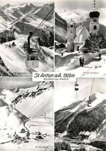 AK / Ansichtskarte St Anton Arlberg Vallugabahn Kirche St Christoph Galzigbahn Kat. St. Anton am Arlberg