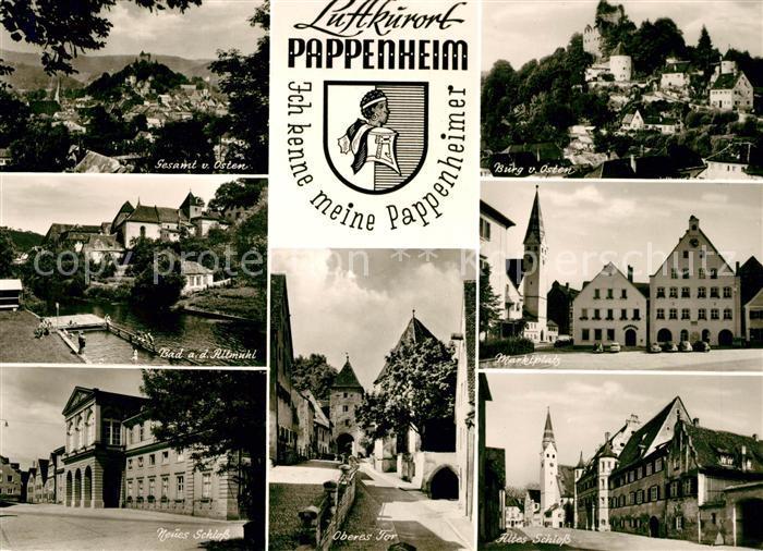 AK / Ansichtskarte Pappenheim Thueringen Panorama Burg Bad an der Altmuehl Marktplatz Neues Schloss Oberes Tor Altes Schloss Kat. Floh Seligenthal