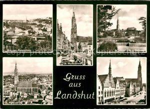 AK / Ansichtskarte Landshut Isar Klausenbergblick St Martinskirche St Martin Burg Trausnitz Martinskirche Rathaus Kat. Landshut