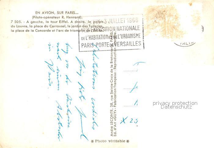 AK / Ansichtskarte Paris Tour Eiffel Palais du Louvre Place du Carrousel  Place de la Concorde Arc de Triomphe Vue aerienne Kat. Paris