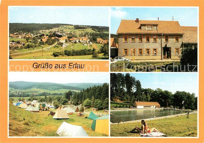 AK / Ansichtskarte Erlau Thueringen uebersicht Konsum Gaststaette Campingplatz Waldbad Freibad Kat. Sankt Kilian