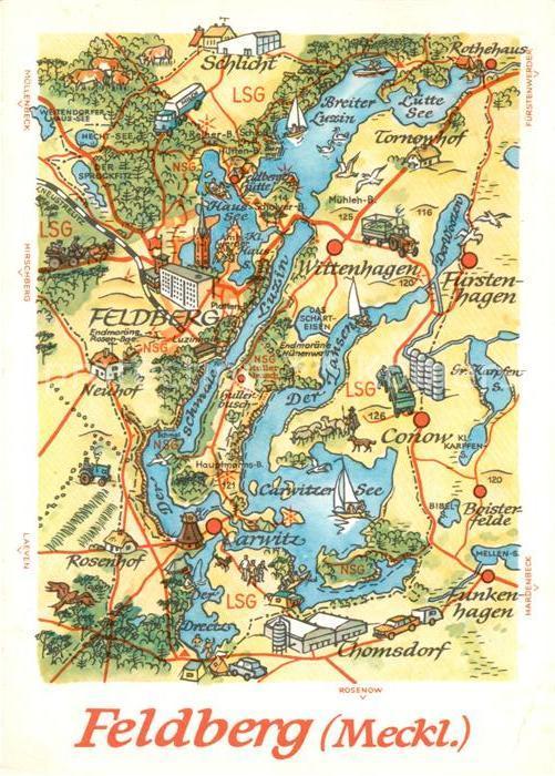 AK / Ansichtskarte Feldberg Mecklenburg und Umgebung Landkarte Kat. Feldberger Seenlandschaft
