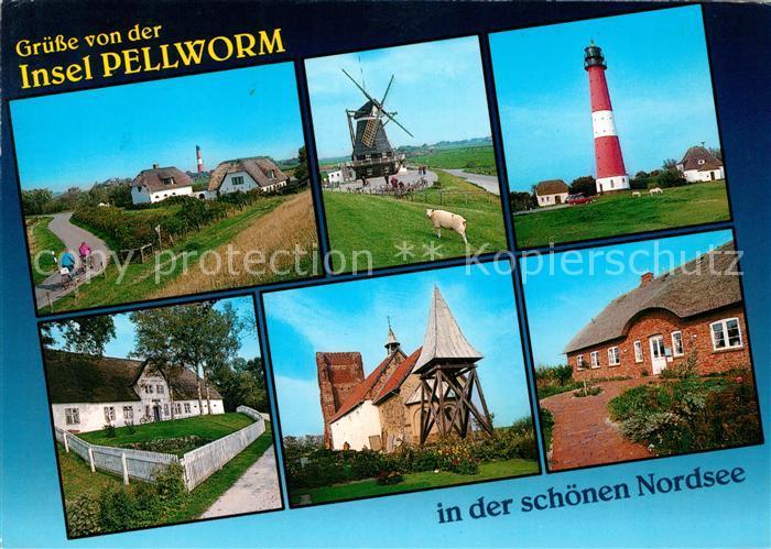 AK / Ansichtskarte Pellworm Nordseeinsel Nordseeheilbad Windmuehle Leuchtturm Kirche Kat. Pellworm
