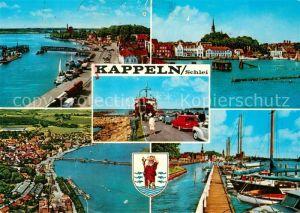 AK / Ansichtskarte Kappeln Schlei Teilansichten Hafen Autofaehre Wappen Fliegeraufnahme Kat. Kappeln