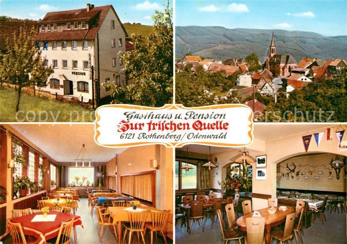 AK / Ansichtskarte Rothenberg Odenwald Gasthaus Pension Zur frischen Quelle Ortsansicht mit Kirche Kat. Rothenberg