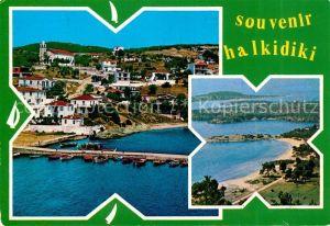 AK / Ansichtskarte Halkidiki Chalkidiki Hafenstadt Kueste Fliegeraufnahme Kat. Halkidiki Chalkidiki
