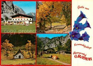 AK / Ansichtskarte Gramaialm Alpengasthof Kapelle Kuh Herbststimmung Blauer Enzian Alpen Kat. Eben am Achensee