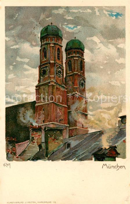 AK / Ansichtskarte Kley Muenchen Frauenkirche  Kat. Kuenstlerlitho