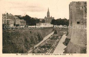 AK / Ansichtskarte Angers Les Douves du Chateau et Eglise St. Laud Kat. Angers