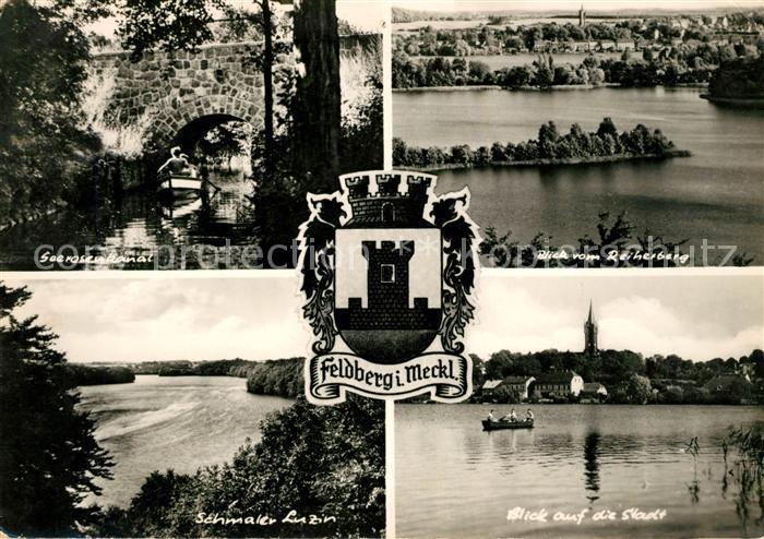 AK / Ansichtskarte Feldberg Mecklenburg Seerosenkanal Blick vom Reiherberg Schmaler Luzin Wappen Kat. Feldberger Seenlandschaft