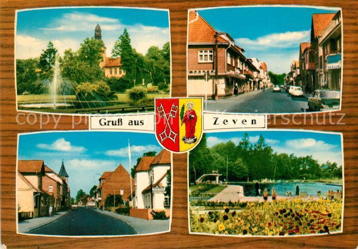 AK / Ansichtskarte Zeven Teilansichten Springbrunnen Kirche Freibad Wappen Kat. Zeven