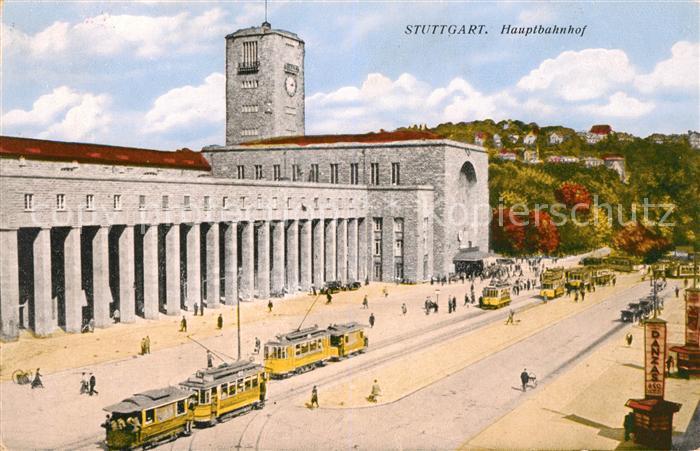 AK / Ansichtskarte Strassenbahn Stuttgart Hauptbahnhof  Kat. Strassenbahn