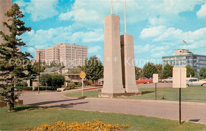 AK / Ansichtskarte Edmonton Alberta Federal and Telephone buildings from Parliament Building grounds Kat. Edmonton