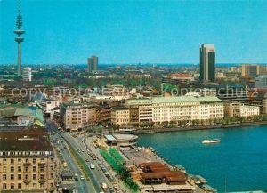 AK / Ansichtskarte Hamburg Blick auf Binnenalster und Jungfernstieg Fernsehturm Kat. Hamburg