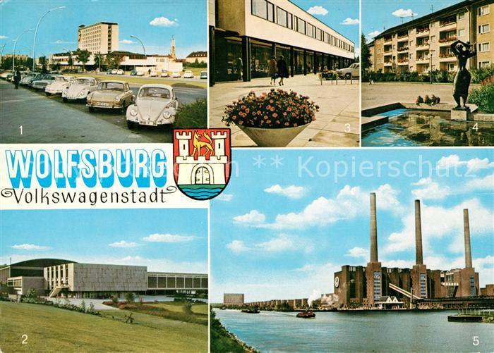 AK / Ansichtskarte Wolfsburg Volkswagenstadt Porschestrasse Stadthalle Kulturzentrum Hansaplatz VW Werk Kat. Wolfsburg