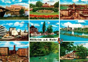 AK / Ansichtskarte Muelheim Ruhr Stadthalle Schlossstrasse Stadtmitte Blumenuhr Wasserbahnhof Busch Schlossbruecke Kat. Muelheim an der Ruhr