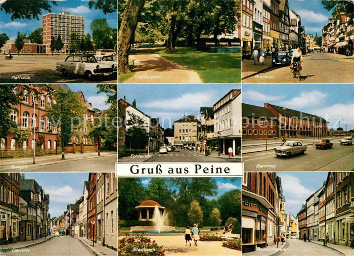 AK / Ansichtskarte Peine Rathaus Strassenpartie Werderpark Bahnhof Stadtpark Kat. Peine