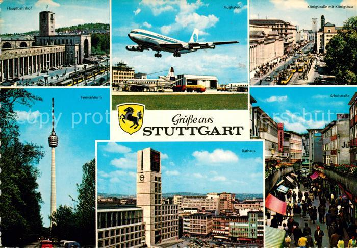 AK / Ansichtskarte Stuttgart Flughafen Rathaus Fernsehturm Hauptbahnhof Kat. Stuttgart