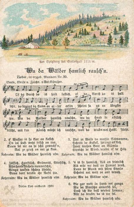 AK / Ansichtskarte Liederkarte Wu da Waelder hamlich rausch n Litho Kat. Musik