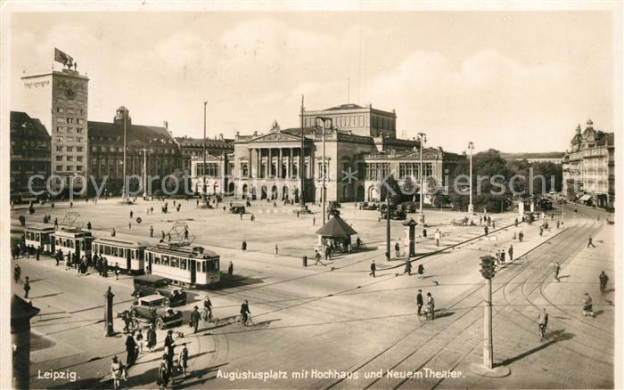 AK / Ansichtskarte Strassenbahn Leipzig Augustusplatz Hochhaus Theater  Kat. Strassenbahn