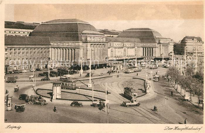AK / Ansichtskarte Strassenbahn Leipzig Hauptbahnhof Kat. Strassenbahn