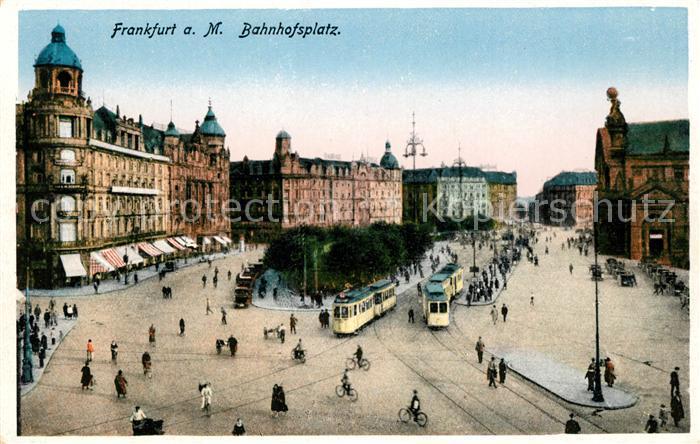 AK / Ansichtskarte Strassenbahn Frankfurt am Main Bahnhofsplatz Kat. Strassenbahn