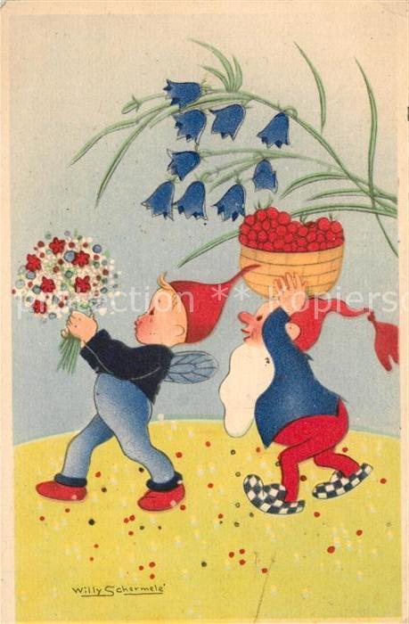 AK / Ansichtskarte Zwerge Kuenstlerkarte Willy Schermele Blumen  Kat. Maerchen und Sagen