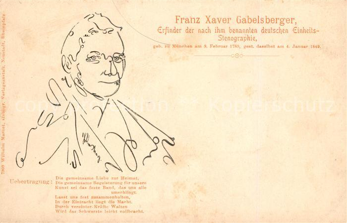 AK / Ansichtskarte Stenographie Franz Xaver Gabelsberger  Kat. Buero
