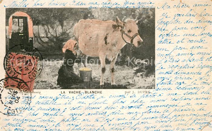AK / Ansichtskarte Kuehe Vache Blanche Kuenstlerkarte J. Dupre  Kat. Tiere
