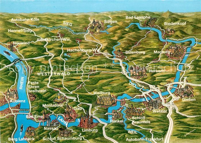 Westerwald Karte.Ak Ansichtskarte Westerwald Region Gebietskarte Mit Lahn Rhein Dill Kat Bad Marienberg Westerwald