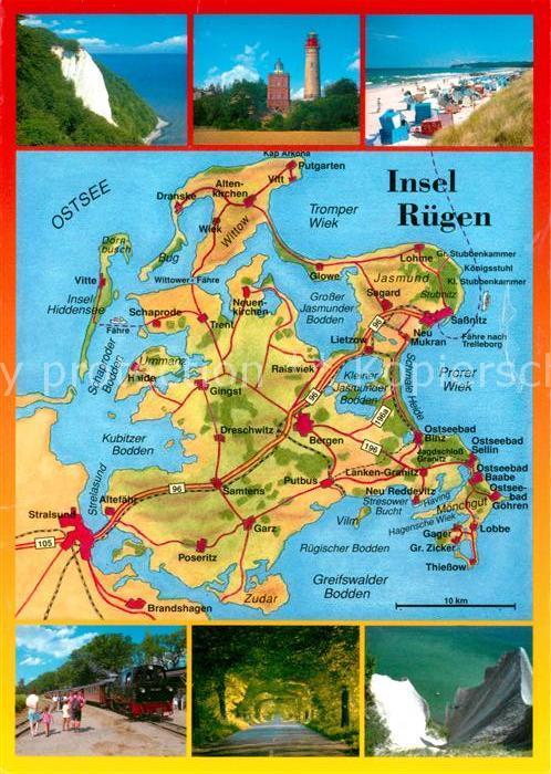 AK / Ansichtskarte Insel Ruegen Kreidefelsen Leuchtturm Strand Inselkarte Molly Kat. Bergen