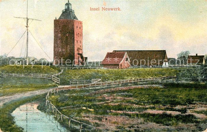 AK / Ansichtskarte Insel Neuwerk Turm Neuwerk Leuchtturm Gebaeude Kat. Hamburg
