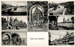 AK / Ansichtskarte Hameln Weser Weserbruecke Hochzeitshaus Rattenfaenger Muenster Osterstrasse