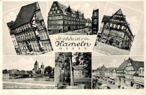 AK / Ansichtskarte Hameln Weser Stiftsherrenhaus Hochzeitshaus Muenster mit Weserbruecke Lachsbrunnen Demptersches Haus Osterstrasse