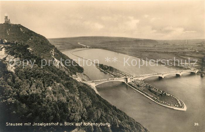 AK / Ansichtskarte Hohensyburg Stausee mit Inselgasthof und Blick auf Hohensyburg Kat. Dortmund