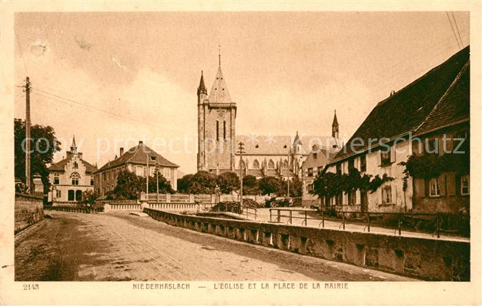 AK / Ansichtskarte Niederhaslach Eglise et Place de la Mairie Kat. Niederhaslach