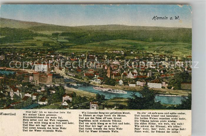 AK / Ansichtskarte Hameln Weser Panorama Weserlied